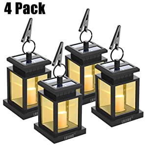 Solar Lantern Hanging Solar Lights Outdoor,Solar Outdoor Lantern Solar Powered with Auto Sensor On Off for Patio Landscape Yard, Warm White Candle Flicker - Gift Ideas(4 Pack)