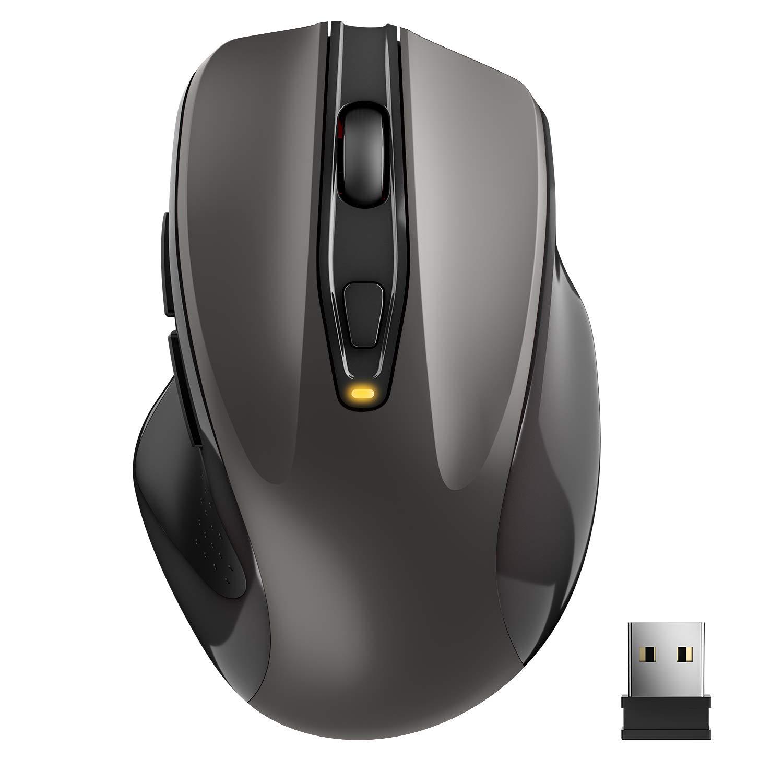 TedGem Kabellose Maus, Wireless Maus 2.4G Funkmaus, Tragbar mit USB-Nano-Empfä nger, 6 Tasten, 5 Einstellbare DPI 2400/2000/1600/1200/800 fü r Laptop & PC, kompatibel mit Microsoft & macOS, Grau YiSen Direct Souris sans Fil
