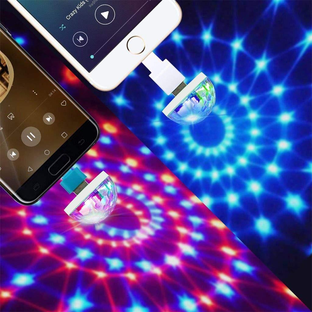 Disco Light,FTXJ USB Mini LED Night Light Color Changed by Sound Music Magic Lights LED Mushroom (White, Type-C) by FTXJ_Home Tool (Image #6)