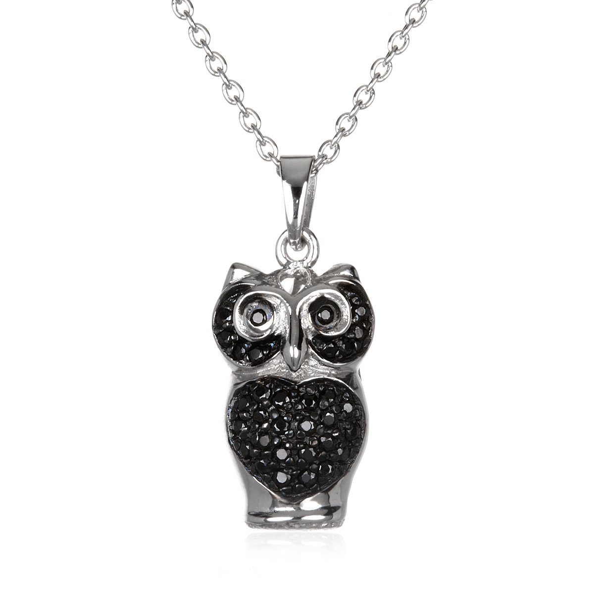 Rylos Sterling Silver Rhodium Plate Black CZ Lovely Owl Fully Backe Pendant in 18 Silver Chain