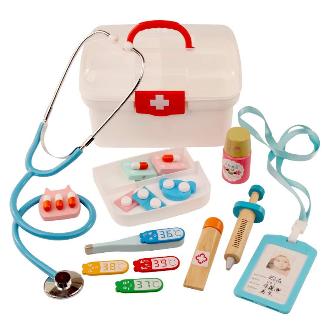 Rolanli Arztkoffer Kinder, 16 Stü ck Arztkoffer Holz Emulational Medizinisches Spielzeug fü r Kinder Rollenspiele