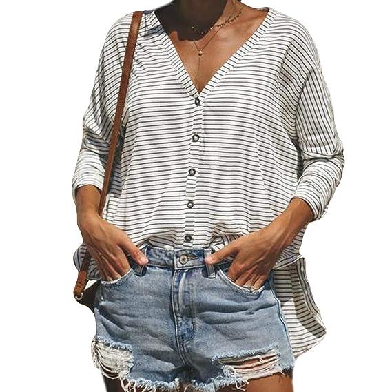 DEELIN Moda De La Mujer Sexy Rayas V-Cuello Casual Tops Camisetas Mujeres Sueltas De
