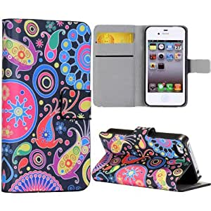 Dolaso Fish Circles Pattern Wallet Stand Side Flip Leather Case Compatible with iPhone 4 and iPhone 4s with Card Slot Colorful
