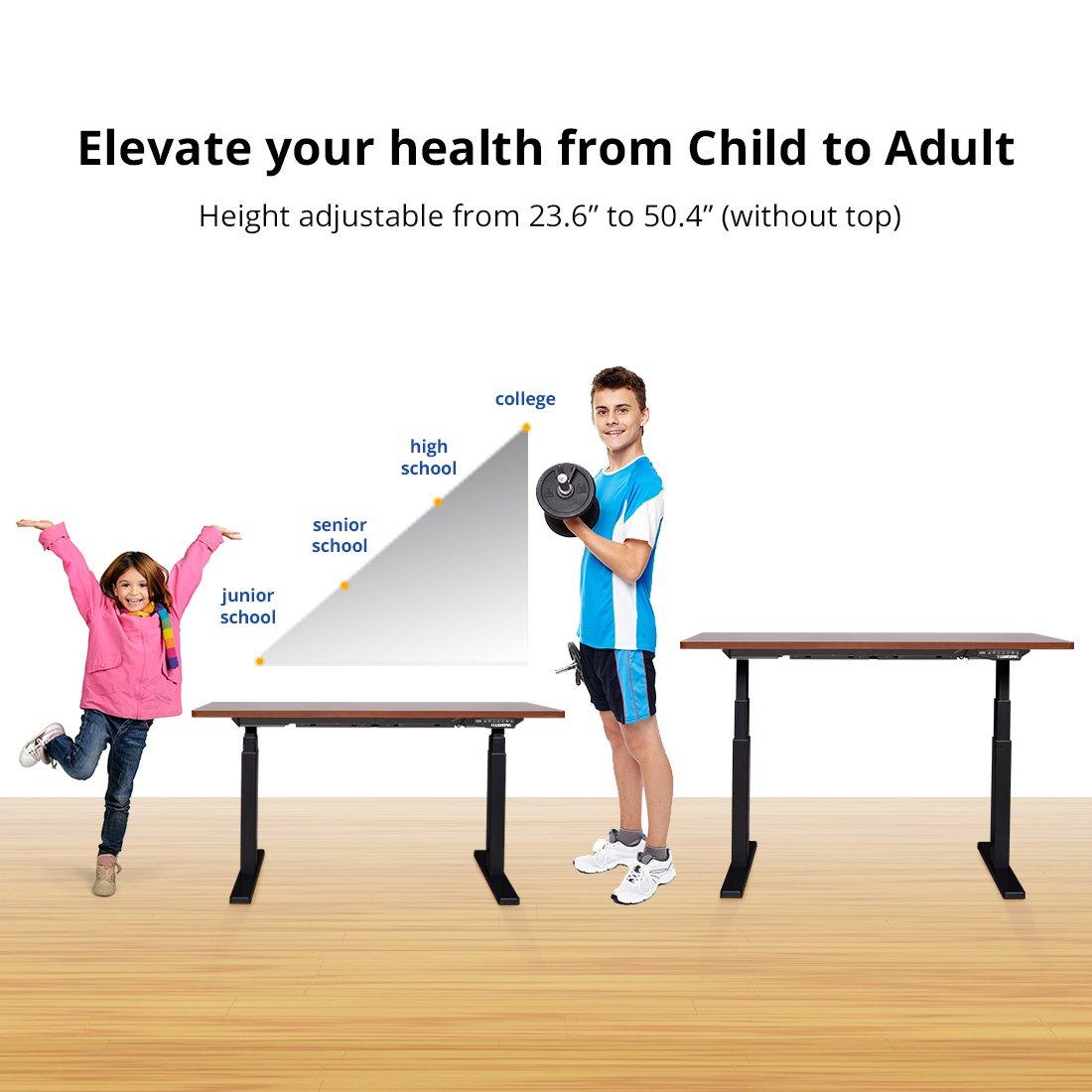 """Flexispot 55"""" W Height Adjustable Desk Frame Electric Sit Stand Desk Base Home Office Stand up Desk (Black + Black)"""
