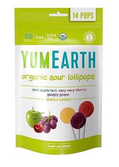 YumEarth - Piruletas Orgánicas de Frutas sabores acidos - 14 unidades