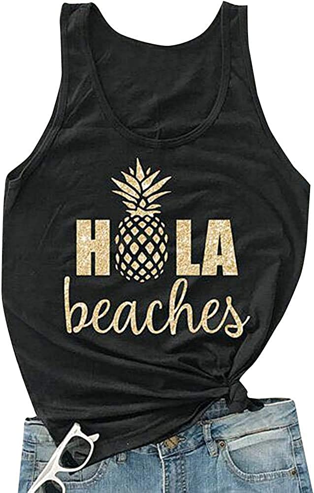 Hubery Women Casual Hola Beaches Letter Print Tanks Shirt Pineapple Print Tops Tee