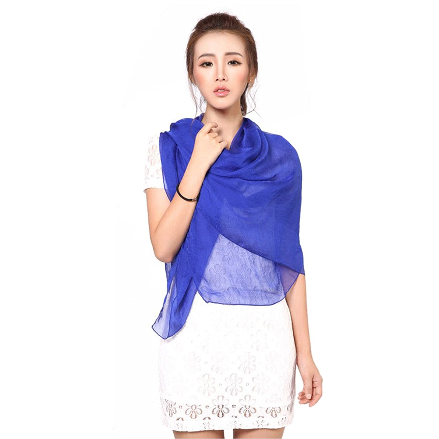 Fashion Girls Long Soft Chiffon blue Scarf Wrap Shawl Stole Scarves Hot