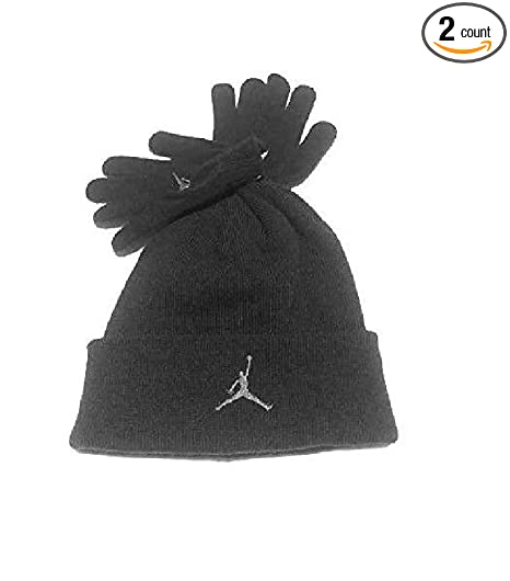 6928288f586 Amazon.com  Nike Air Jordan Boys Winter Hat Beanie Cap Gloves Set Black Grey  8 20  Sports   Outdoors