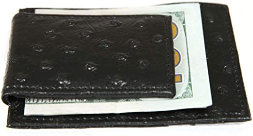 Ostrich Leather Magnetic Money Clip