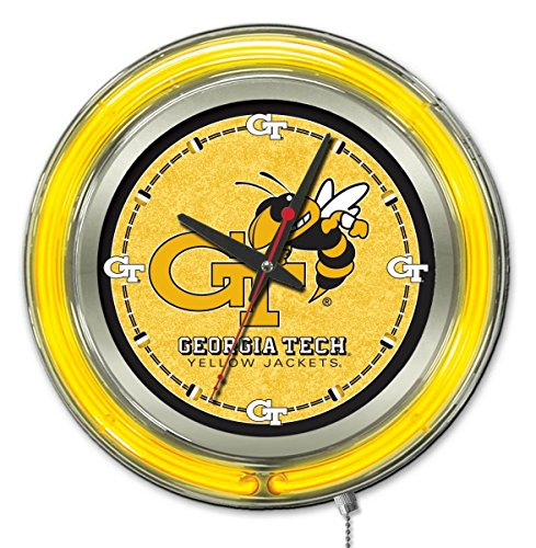 Holland Bar Stool Co. Georgia Tech Yellow Jackets HBS Neon Yellow Battery Powered Wall Clock (15