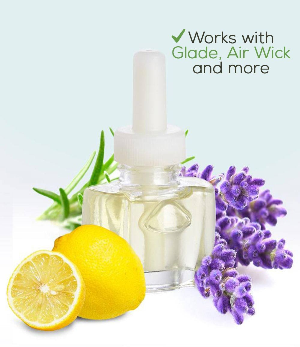 (4 Pack) Relax Blend (with Lemon, Lavender & Eucalyptus) Plug in Refills - fits Glade®, Air Wick®, and More