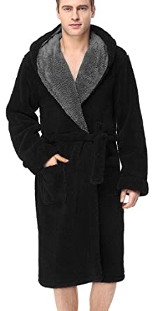 253a82b1b96 OLIPHEE Men s Soft Hooded Bathrobe Housecoat Dressing Gown with Belt Black S