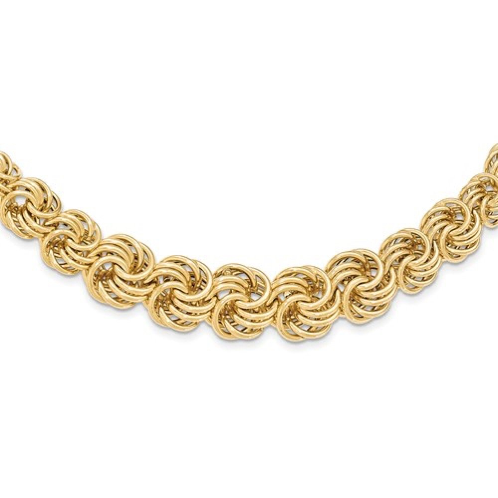 Roxx Fine Jewelry Woven Circles Graduated Contemporary Necklace 16'' 14K Yellow Gold Handmade from Italy 18mm