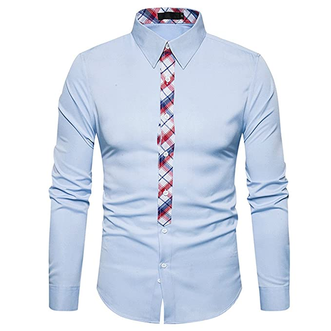 BaZhaHei Hombre Camisa Manga Larga Slim Fit S-81XL Camiseta de Manga Larga con Panel