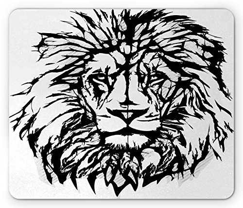 Savannah King - Lion Mouse Pad by Ambesonne, Sketch Art of African Safari Animal King of the Jungle Savannah Wildlife, Standard Size Rectangle Non-Slip Rubber Mousepad, Black White Pale Grey