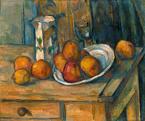 Still Life with Milk Jug and Fruit - Masterpiece Classic - Artist: Paul Cezanne c. 1900 (9x12 Art Print, Wall Decor Travel Poster) ()