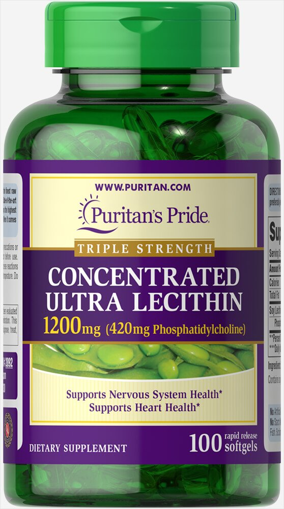 Puritan's Pride Concentrated Ultra Lecithin 1200 mg-100 Rapid Release Softgels