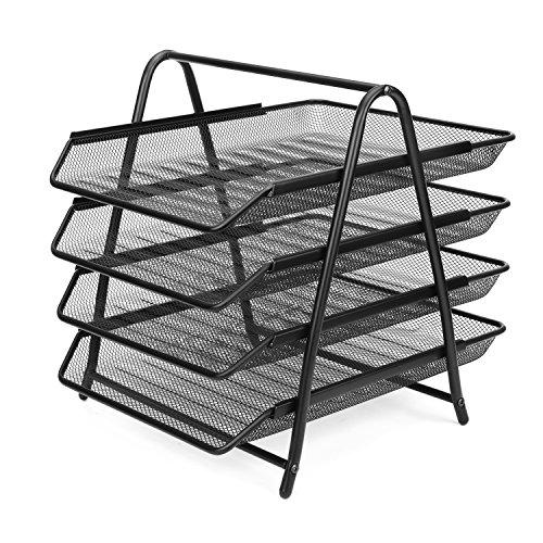 Flexzion Desk Document File Organizer Tray Desktop Tabletop Paper Letter Holder Stand - Metal Mesh 4 Tier Magazine Sorter Rack Office Supplies & Accessories (Black) -