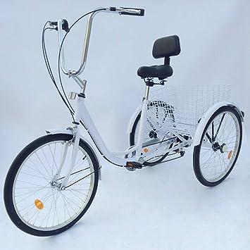 HaroldDol – Triciclo para Adultos, 24 Pulgadas, 3 Ruedas, 6 ...