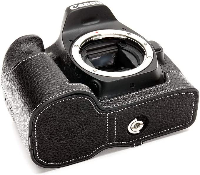 Handmade Genuine Real Leather Half Camera Case Bag Cover for Canon EOS 90D Coffee Color