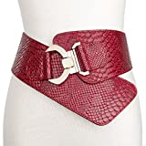 JasGood Women's Fashion Snake Pattern Wide Elastic Stretch Adjustable Waist Cinch Belt Waistband  Red  Suit Waist 29-32 Inch
