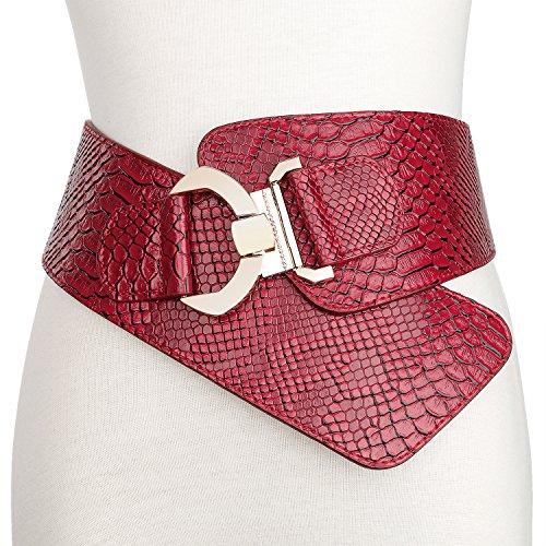 (JasGood Women's Fashion Snake Pattern Wide Elastic Stretch Adjustable Waist Cinch Belt Waistband  Red  Suit Waist 29-32 Inch)