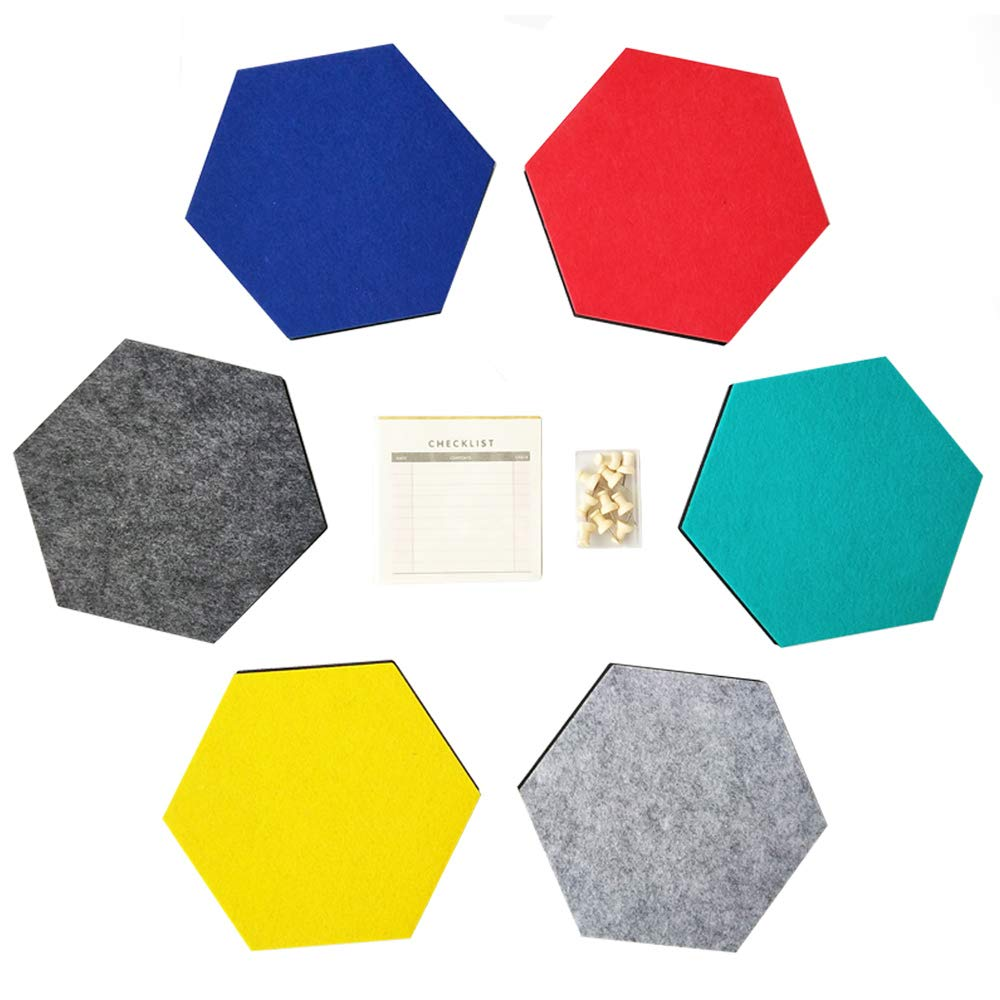 UniLiGis Hexagon Felt Board, Photo Wall Decor, Cork Board, Memo Board, Bulletin Board, Pin Board, 6 Color, 6-Pack (1 Memo Pad+10 Cork Push Pins)