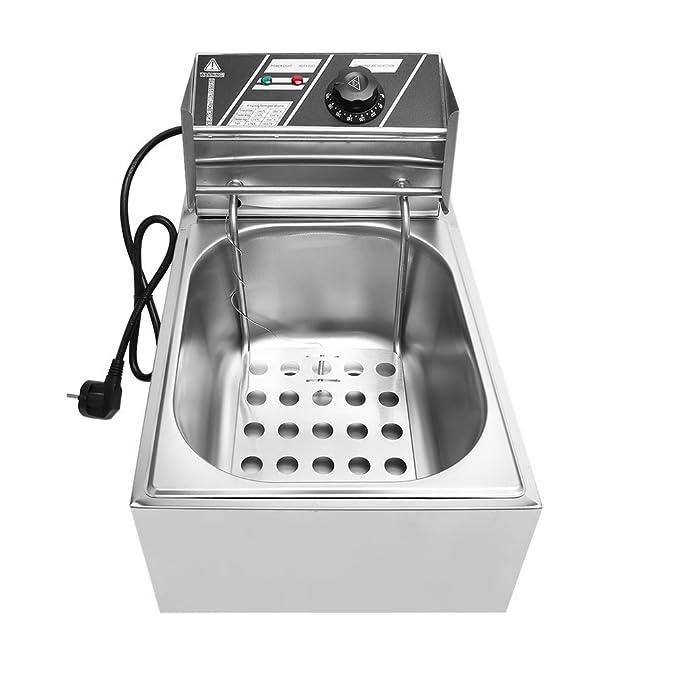 hehi Lark freidoras 10L Gastronomía tentempiés fritura freidora fritöse grasa Back dispositivo Acero Inoxidable 2500 W, 220 V, Temperatura Regulable ...