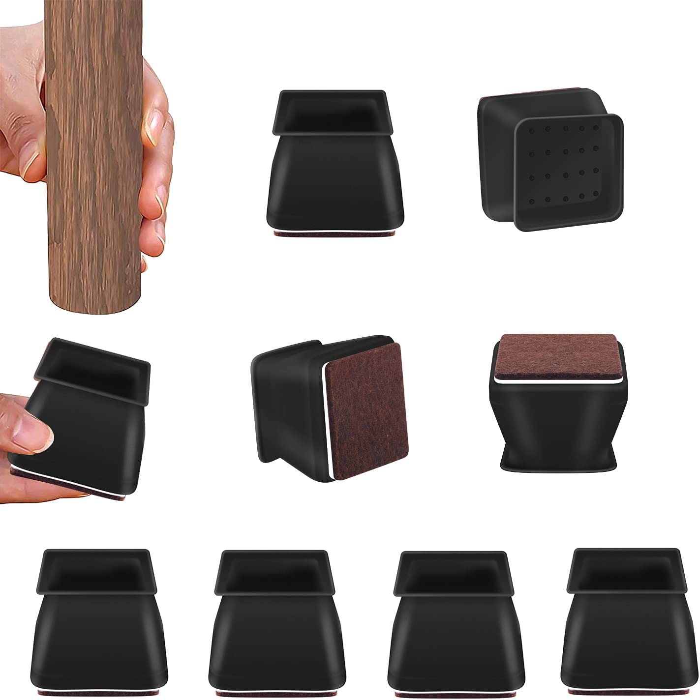 Chair Leg Floor Protectors Square Silicone, Furniture Pads Non Slip for Hardwood Tile Floors, Free Moving Covers for Ding Chair Carpet and Outdoor Furniture (32 Pcs, Black)