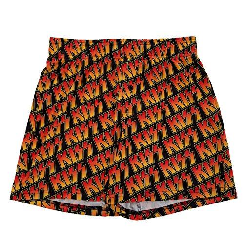 Kiss Rock Band Logo Mens Black Boxer Shorts Medium