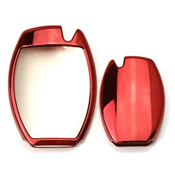 iJDMTOY 1 Exact Fit Gloss Metallic Red Smart Remote Key Fob Shell for Mercedes-Benz C E S M CLS CLK GLK GL Class, etc