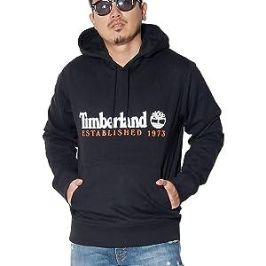 [ティンバーランド] プルオーバーパーカー メンズ スウェット 裏起毛 Timberland USA ツリーロゴ ブラック/ホワイト L 大きいサイズ [並行輸入品]