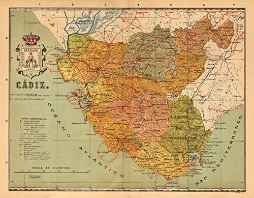 CÁDIZ. Cadiz. Andalucía. Mapa Antiguo de la Provincia. Alberto Martin - C1911 - Mapa Antiguo Vintage - Mapas Impresos de España: Amazon.es: Hogar