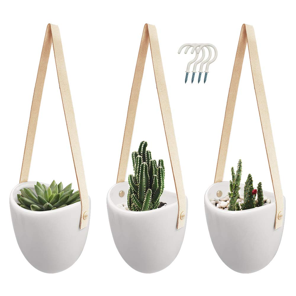 Cesun Ceramic Hanging Planter Wall Decor, Container for Succulent, Air, Faux Plants and More, Set of 3 Khaki Strap
