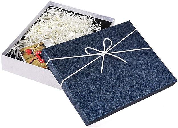 YIKEY-Caja de Regalo Caja de Regalo de Lazo Blanco, Caja de cartón Gruesa Rectangular Azul,