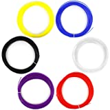 AFUNTA 6PCS 1.75mm 20M / 50G / Stampa PCS ABS 3D Filament Per stampante 3D Pen - Rosso, viola, bule, nero, bianco, colore giallo