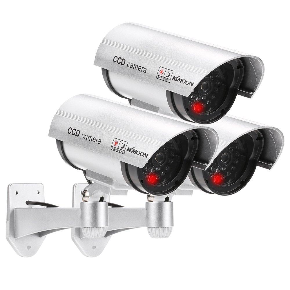 KKmoon 3Pcs Cámara Simulada Falsa Inalámbrico Impermeable Sistema de Vigilancia IR LED: Amazon.es: Electrónica