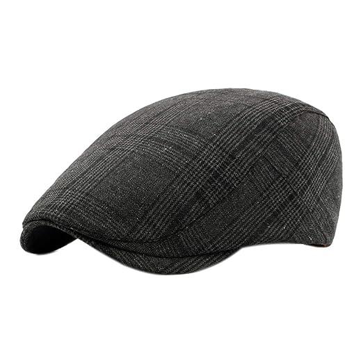 15ed6cd4d8 Amazon.com: Men Cotton Adjustable Newsboy Beret Ivy Cap Cabbie Flat ...