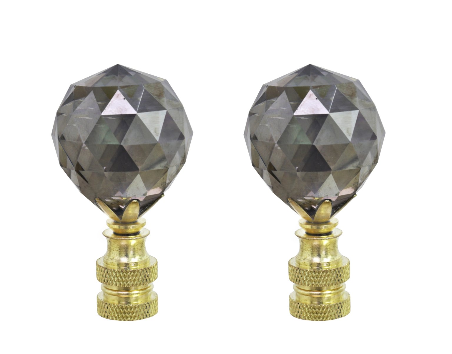 Aspen Creative 24007-42 Charcoal Grey Faceted Crystal Lamp Finial in Brass Plated Finish, 2 1/4'' Tall (2 Pack),