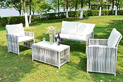 GOJOOASIS Outdoor Patio Furniture Wicker Rattan Sofa Sectional 4PCS Garden Conversation Set Grey with Seat & Back Cushion