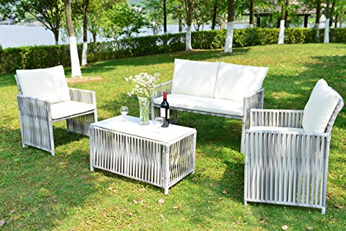 Discount Wicker Furniture - GOJOOASIS Outdoor Patio Furniture Wicker Rattan Sofa Sectional 4PCS Garden Conversation Set Grey with Seat & Back Cushion