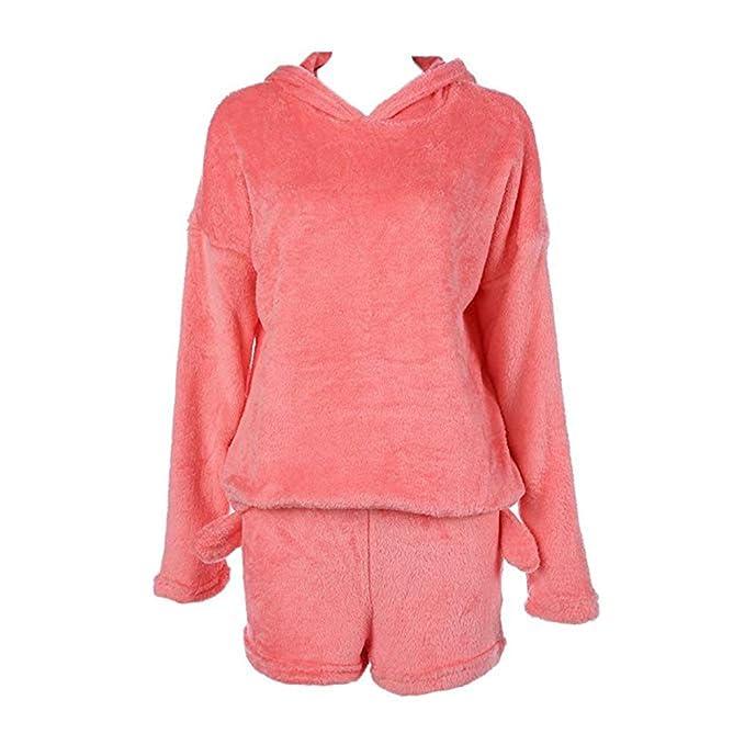 Pijama De Otoño Invierno Mujer Pijama De Dos Piezas Conjunto Cálida Lana De Coral Traje De