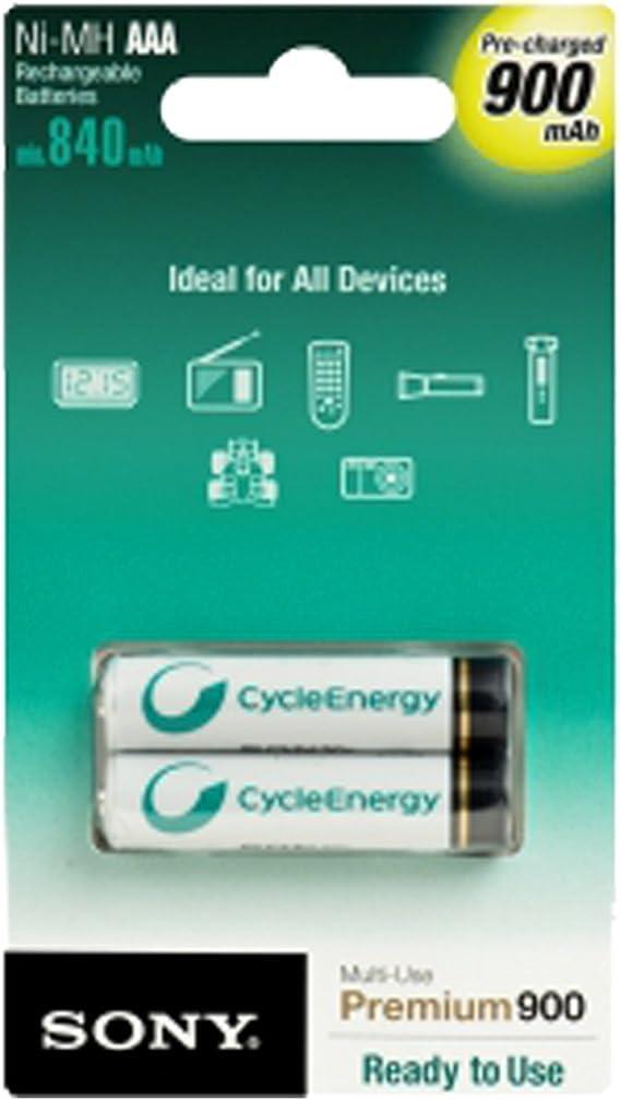 Sony NHAAAB2G - Pack de 2 pilas recargables (1.2 V, AAA, 900 mAh, NiMh): Amazon.es: Electrónica