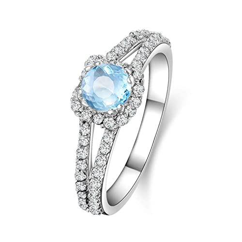 AMDXD Jewelry 925 Sterling Silver Engagement Rings for Women Blue Round Cut Topaz Round Rings