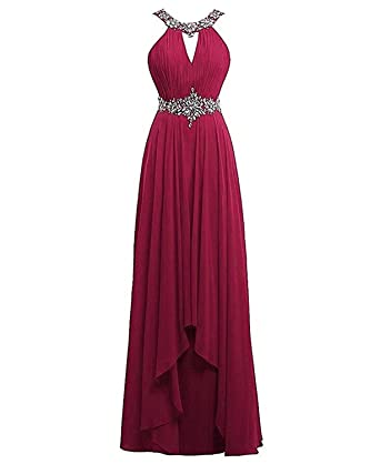 Dannifore Womens Beaded A-Line Backless Floor Length Bridesmaid Evening Dresses Maxi Gown Burgundy Size