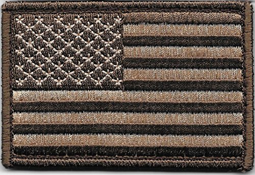 Pennant Patch - Brown Tactical American Flag Patch with Hook/Loop Backing (1-Patch)
