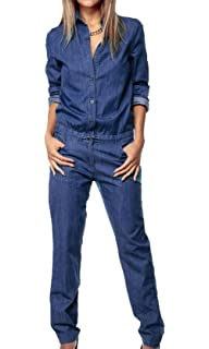 8476d455f14 MAXIMGR Women s Loose Long Sleeve Denim Romper High Neck Long Pants Jumpsuit  with Tie Waist