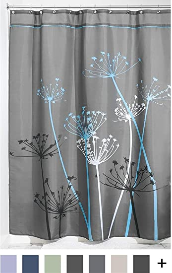 blue and gray shower curtain. InterDesign Thistle Shower Curtain  Long Gray and Blue Amazon com