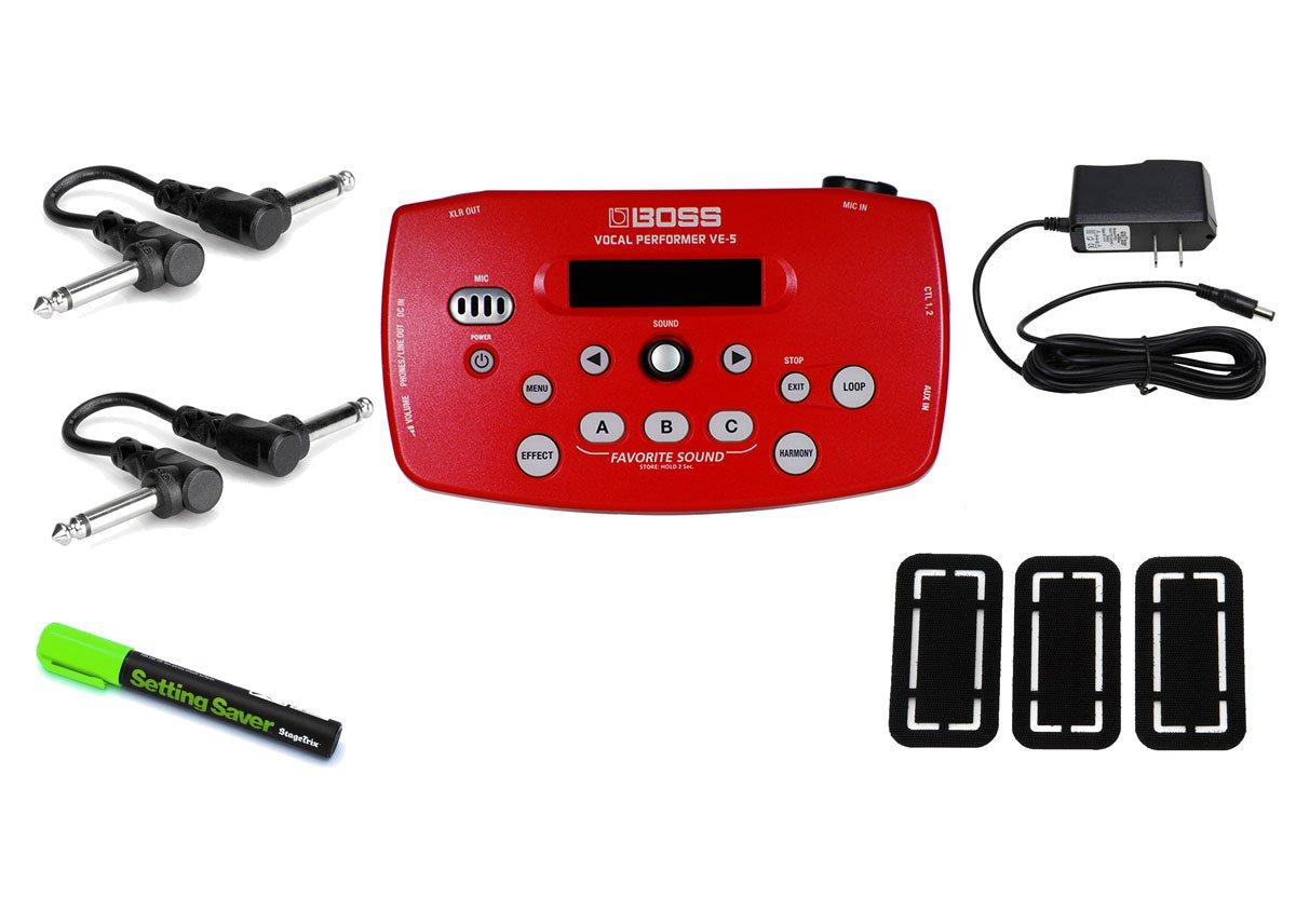 Boss VE-5 Vocal Processor Red PRYMAXE PEDAL BUNDLE