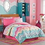 Rainbow Sherbet, Chevron, Teen Girls Colorful Full Comforter Set (8 Piece Bed In A Bag) + HOMEMADE WAX MELT